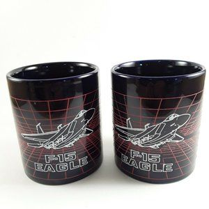 Vintage Grid F-15 Eagle Fighter Jet  Blue Mug Set